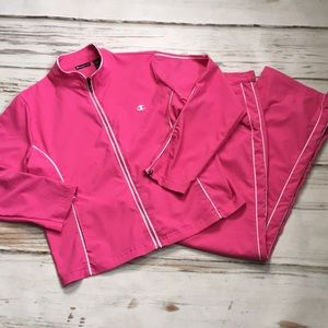 Champion elite track suit pink pockets zip large